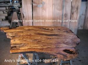 figured spalted maple slab